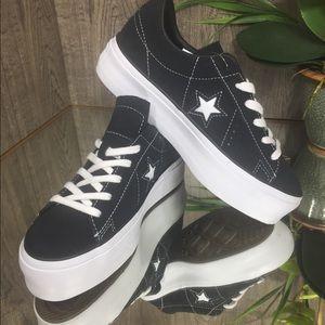❤️ One Star Platform Suede 69c Black W AUTHENTIC
